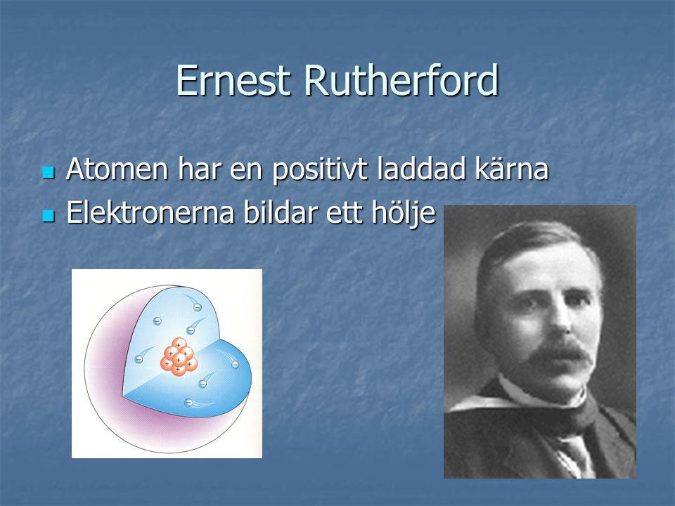 Ernest Rutherford Atomen har en positivt laddad kärna