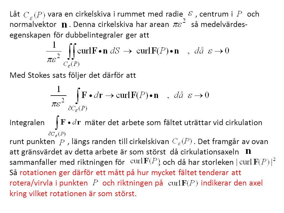 Låt vara en cirkelskiva i rummet med radie , centrum i och normalvektor .