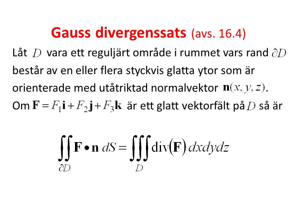 Gauss divergenssats (avs. 16.4)
