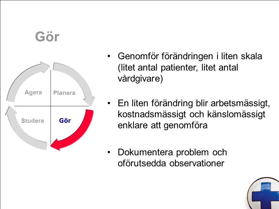 Gör Genomför förändringen i liten skala (litet antal patienter, litet antal vårdgivare)