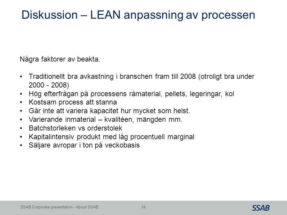 Diskussion – LEAN anpassning av processen