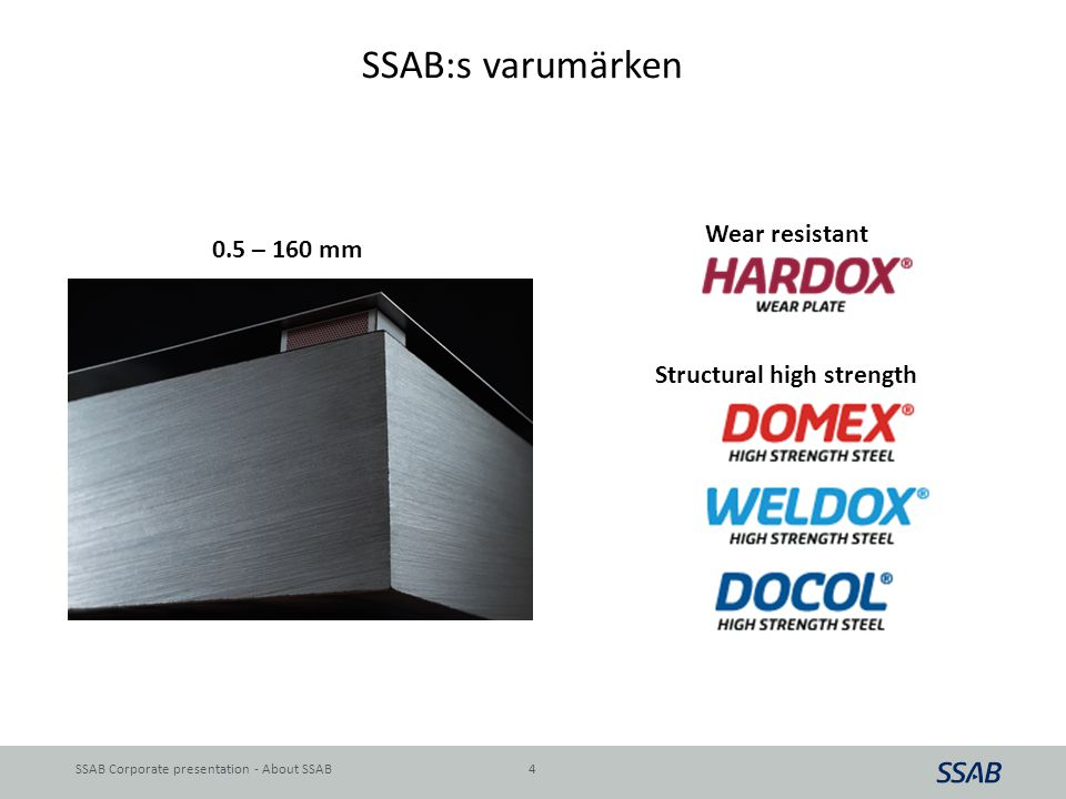 SSAB:s varumärken Wear resistant 0.5 – 160 mm Structural high strength