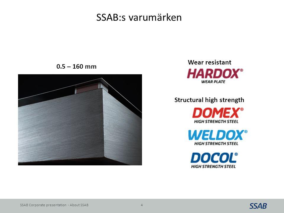 SSAB:s varumärken Wear resistant 0.5 – 160 mm Structural high strength