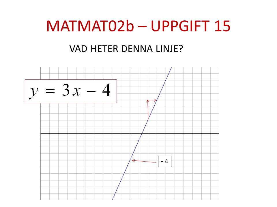 MATMAT02b – UPPGIFT 15 VAD HETER DENNA LINJE - 4