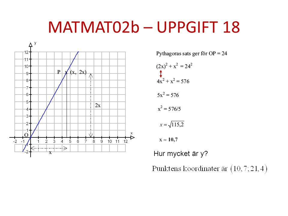 MATMAT02b – UPPGIFT 18 Hur mycket är y