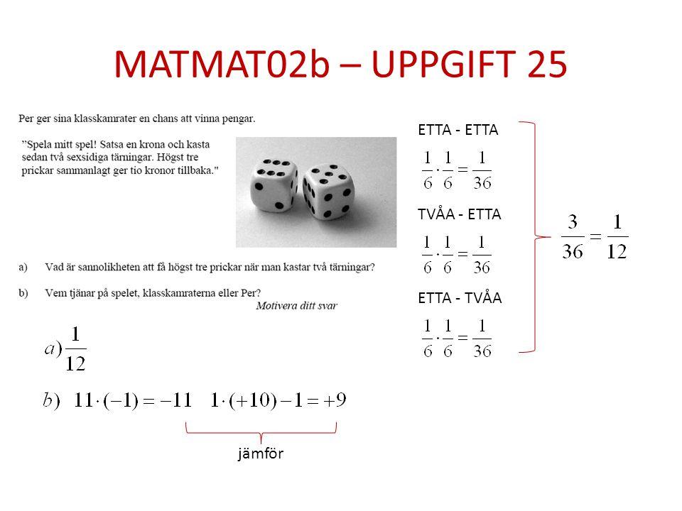 MATMAT02b – UPPGIFT 25 ETTA - ETTA TVÅA - ETTA ETTA - TVÅA jämför