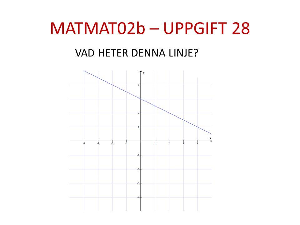 MATMAT02b – UPPGIFT 28 VAD HETER DENNA LINJE