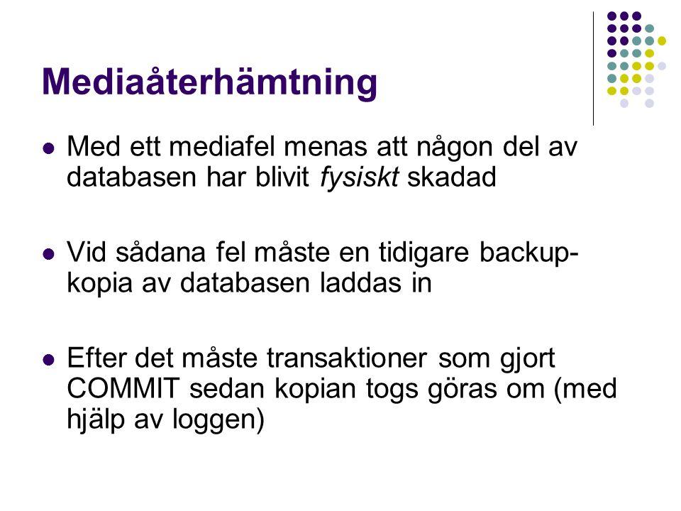 Mediaåterhämtning Med ett mediafel menas att någon del av databasen har blivit fysiskt skadad.
