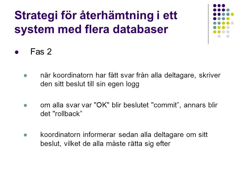 Strategi för återhämtning i ett system med flera databaser