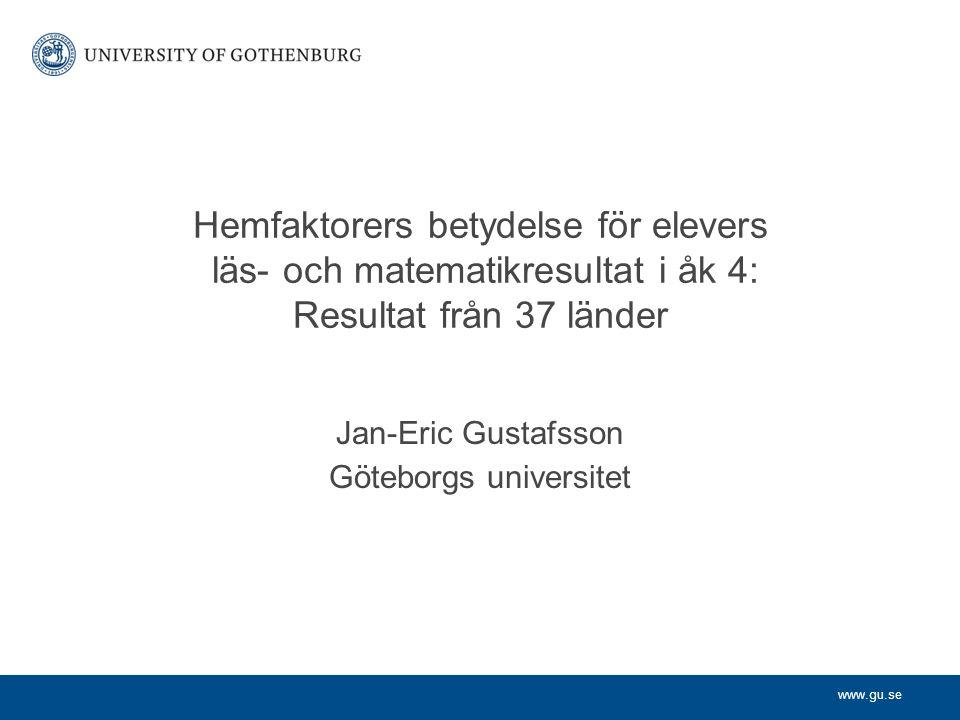 Jan-Eric Gustafsson Göteborgs universitet