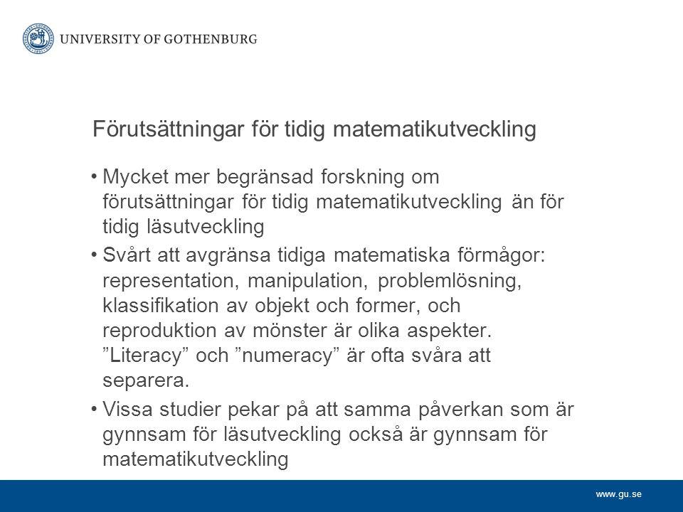 Förutsättningar för tidig matematikutveckling