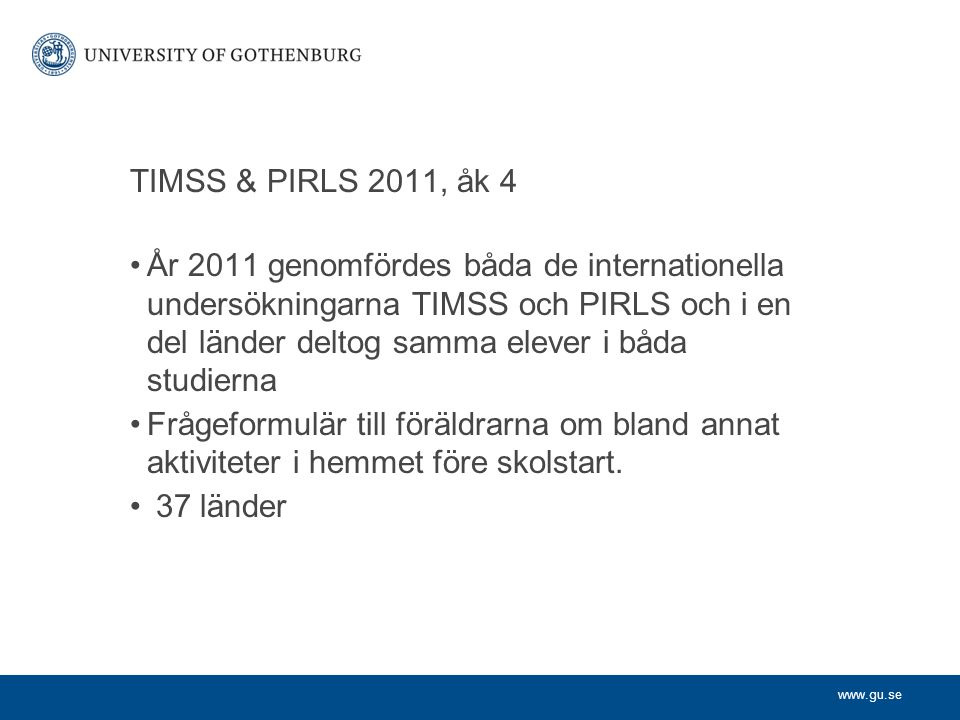 TIMSS & PIRLS 2011, åk 4