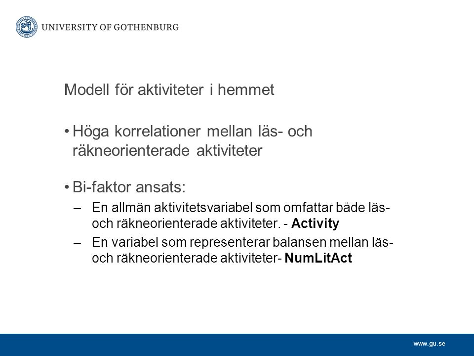 Modell för aktiviteter i hemmet