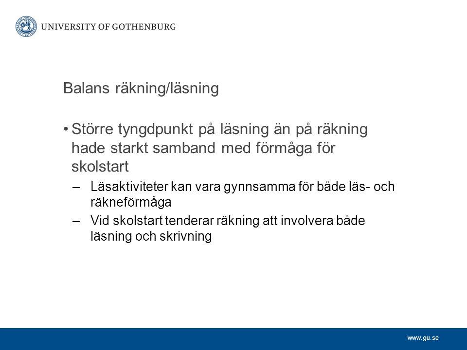 Balans räkning/läsning