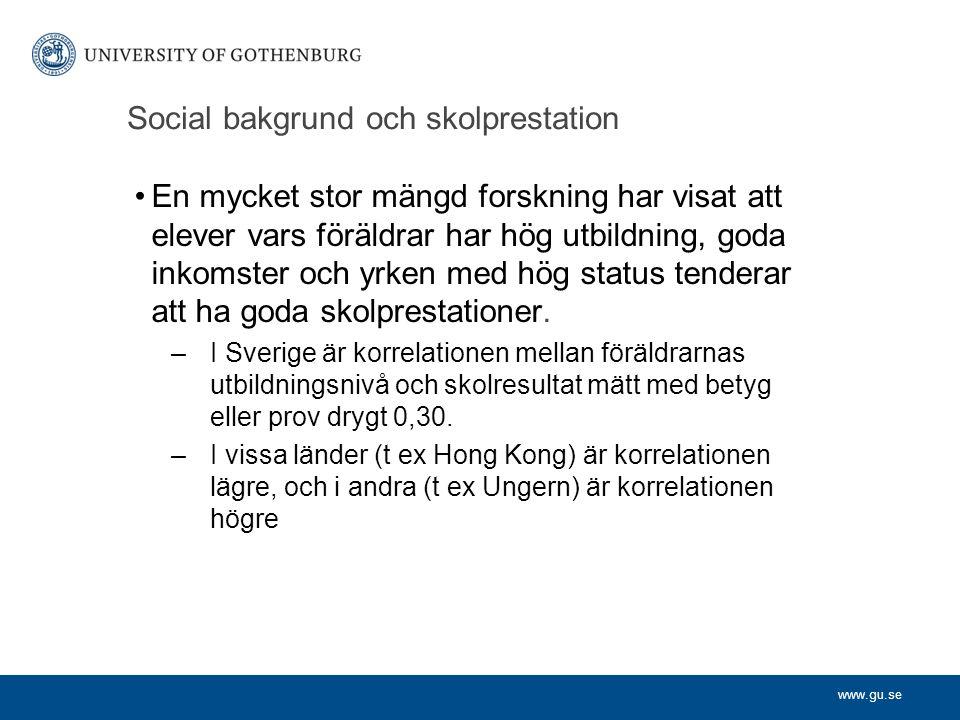 Social bakgrund och skolprestation