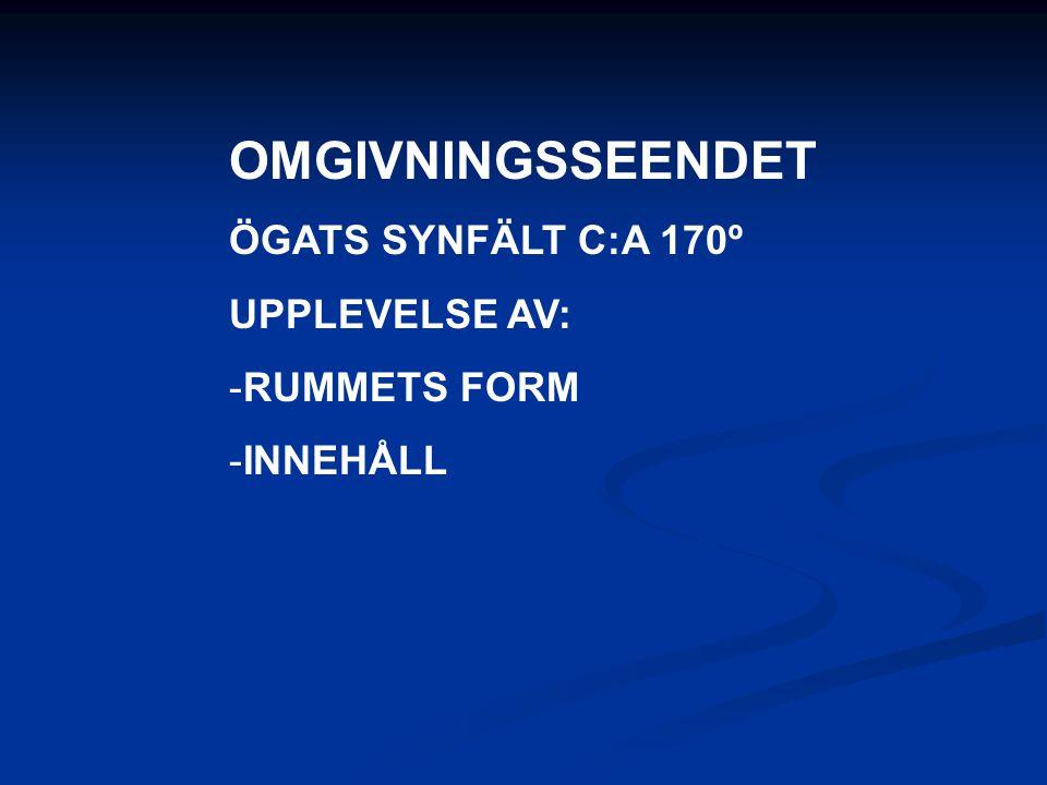 OMGIVNINGSSEENDET ÖGATS SYNFÄLT C:A 170º UPPLEVELSE AV: RUMMETS FORM
