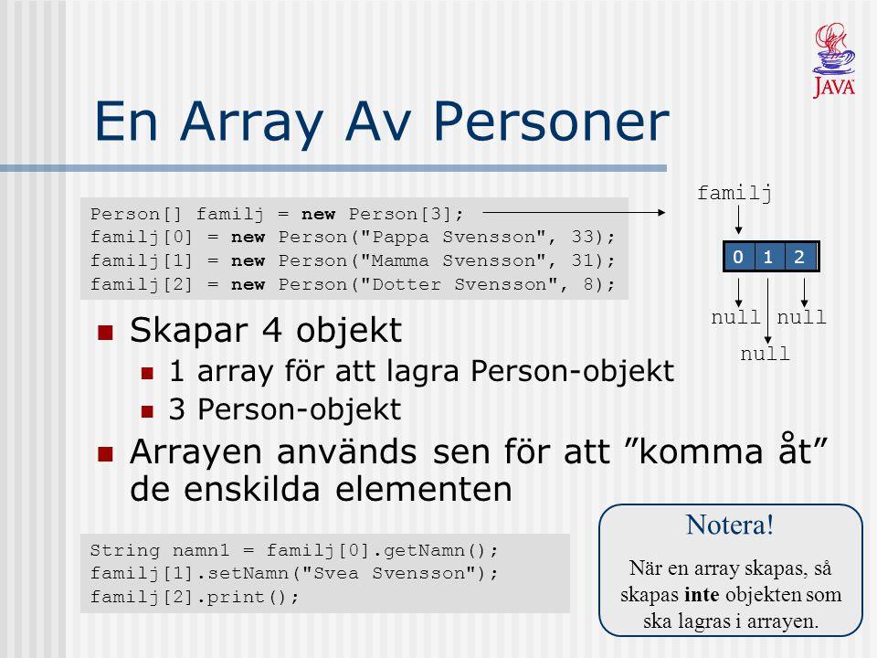 När en array skapas, så skapas inte objekten som ska lagras i arrayen.