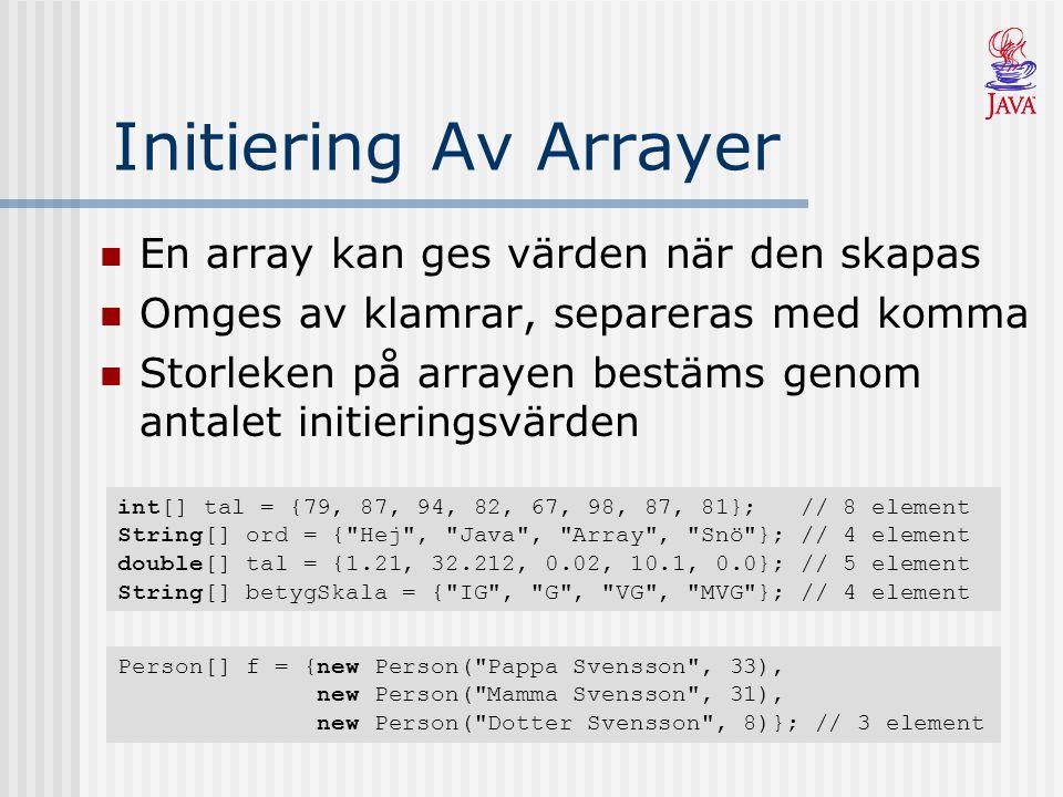 Initiering Av Arrayer En array kan ges värden när den skapas