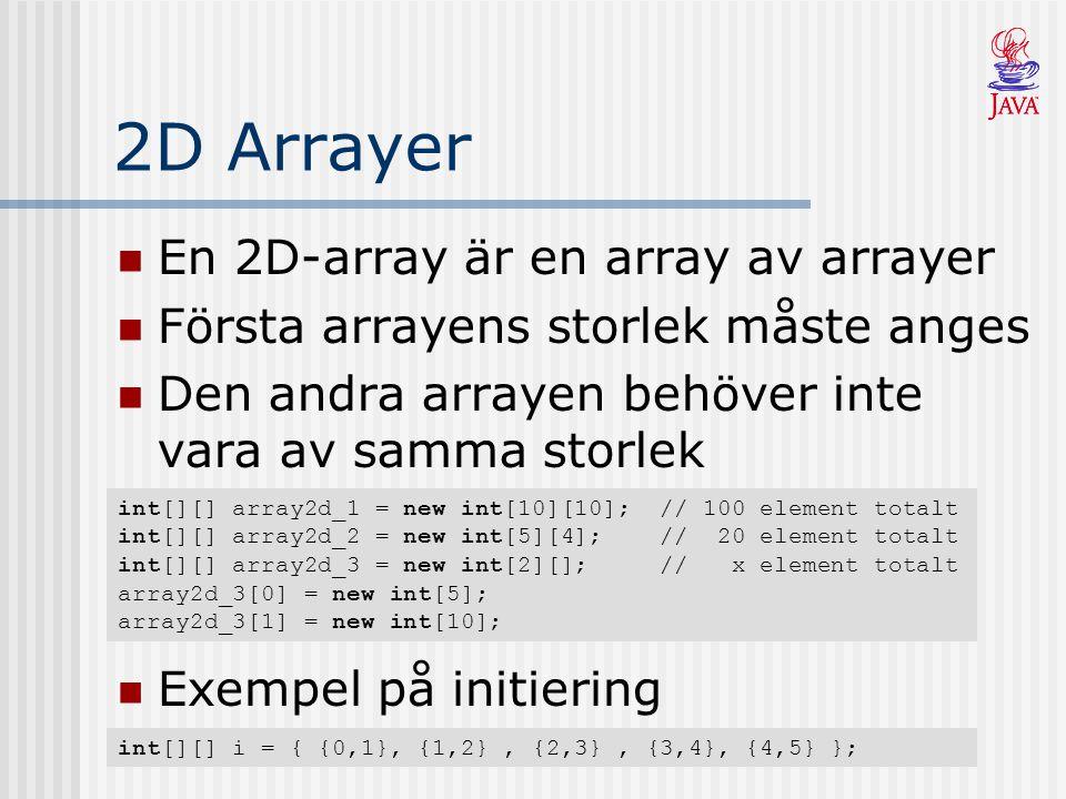 2D Arrayer En 2D-array är en array av arrayer