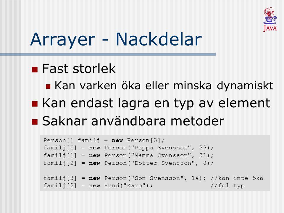 Arrayer - Nackdelar Fast storlek Kan endast lagra en typ av element