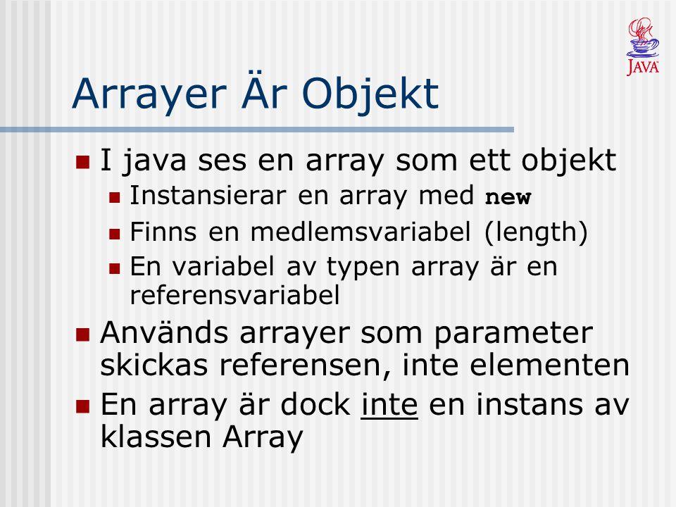 Arrayer Är Objekt I java ses en array som ett objekt