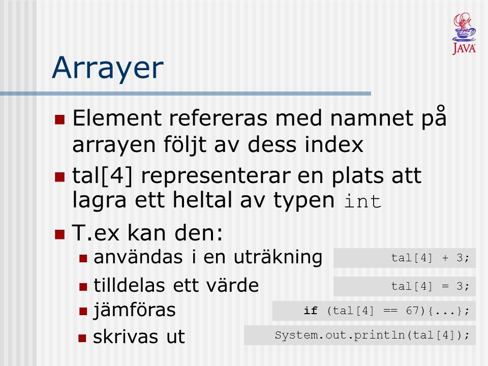 Arrayer Element refereras med namnet på arrayen följt av dess index