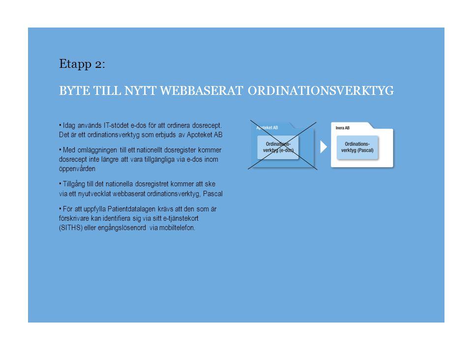 Etapp 2: BYTE TILL NYTT WEBBASERAT ORDINATIONSVERKTYG