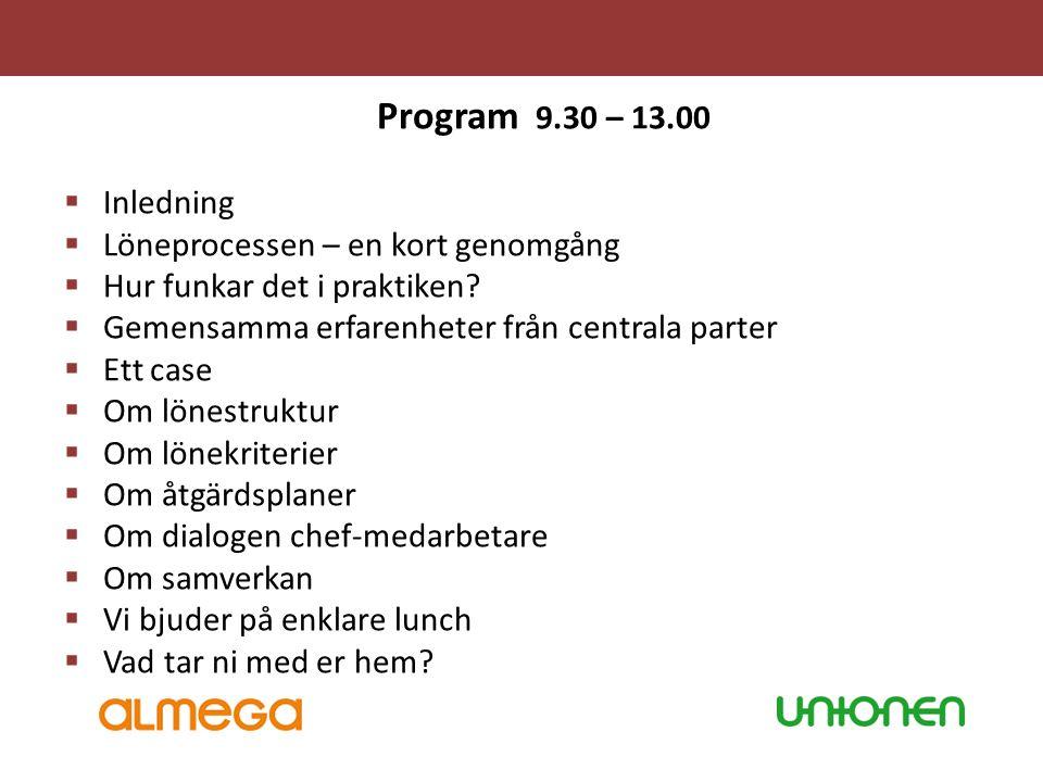 Program 9.30 – 13.00 Inledning Löneprocessen – en kort genomgång