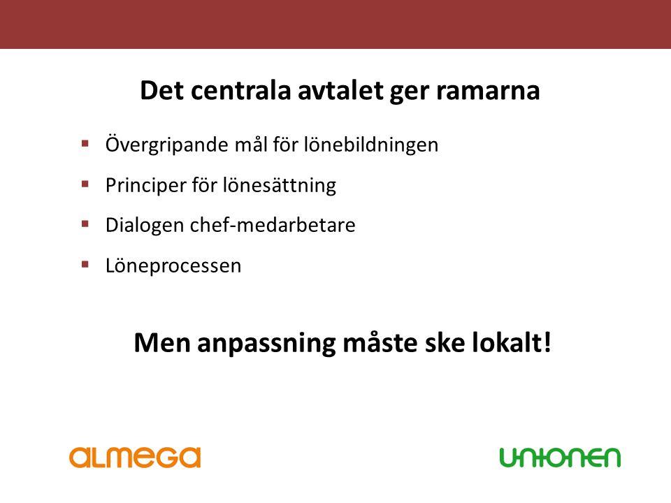 Det centrala avtalet ger ramarna Men anpassning måste ske lokalt!