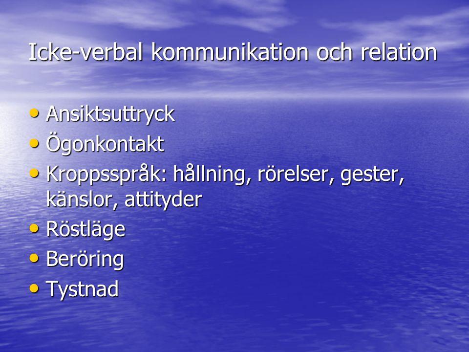 Icke-verbal kommunikation och relation