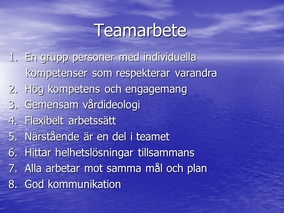 Teamarbete 1. En grupp personer med individuella