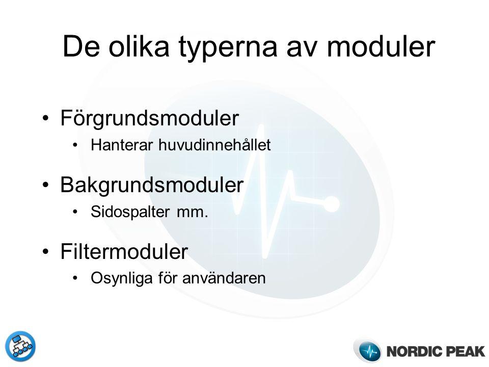 De olika typerna av moduler