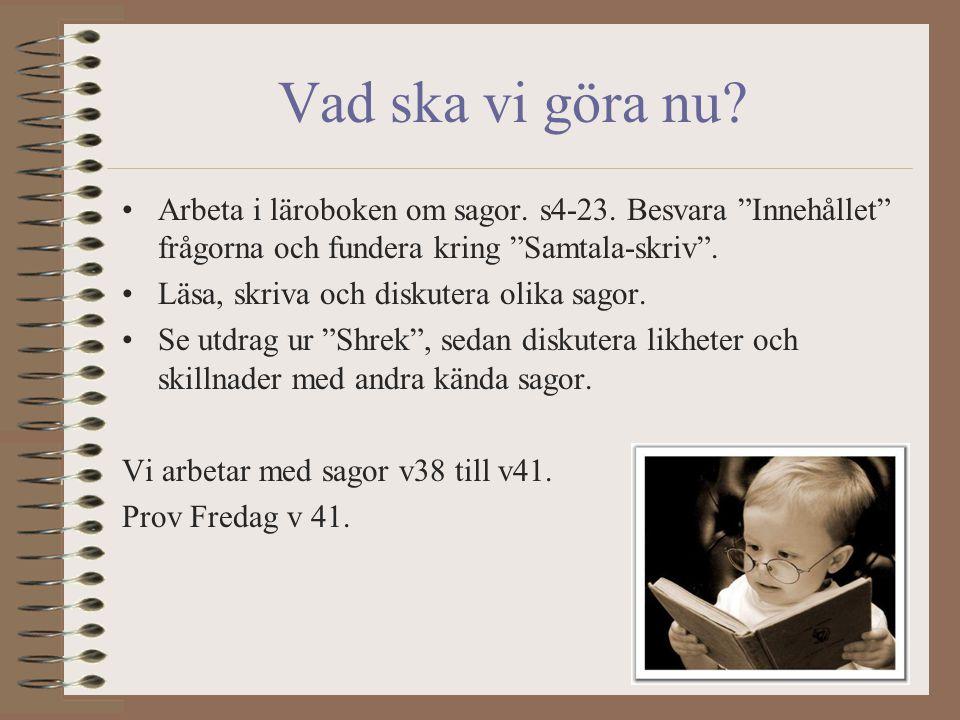 Vad ska vi göra nu Arbeta i läroboken om sagor. s4-23. Besvara Innehållet frågorna och fundera kring Samtala-skriv .