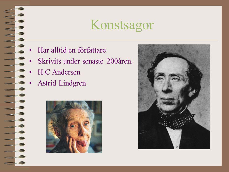 Konstsagor Har alltid en författare Skrivits under senaste 200åren.