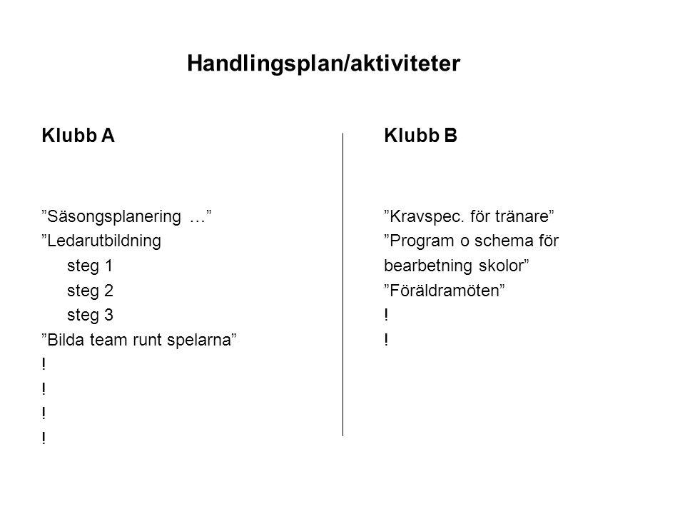 Handlingsplan/aktiviteter