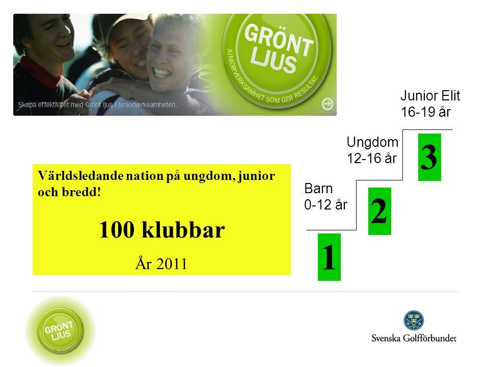 3 2 1 100 klubbar År 2011 Junior Elit 16-19 år Ungdom 12-16 år
