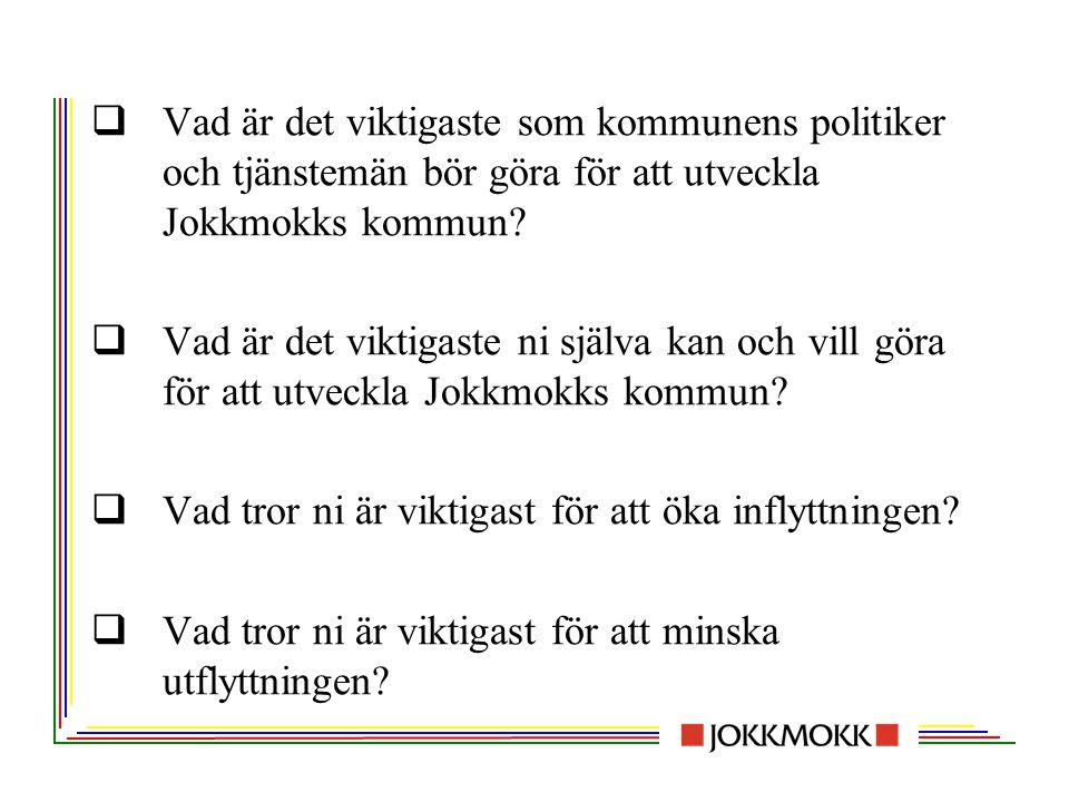 Vad är det viktigaste som kommunens politiker och tjänstemän bör göra för att utveckla Jokkmokks kommun
