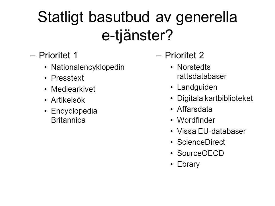Statligt basutbud av generella e-tjänster