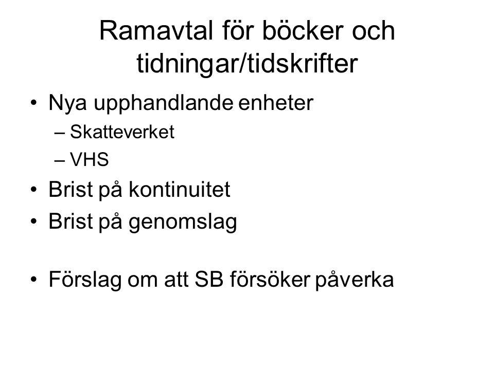 Ramavtal för böcker och tidningar/tidskrifter
