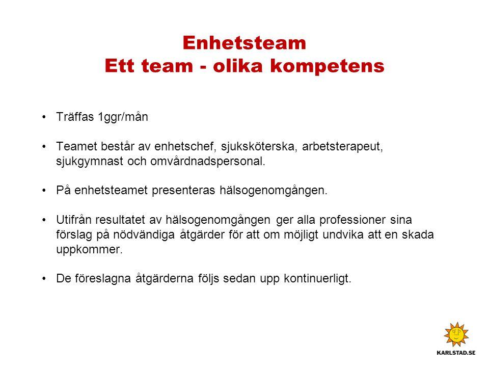 Enhetsteam Ett team - olika kompetens