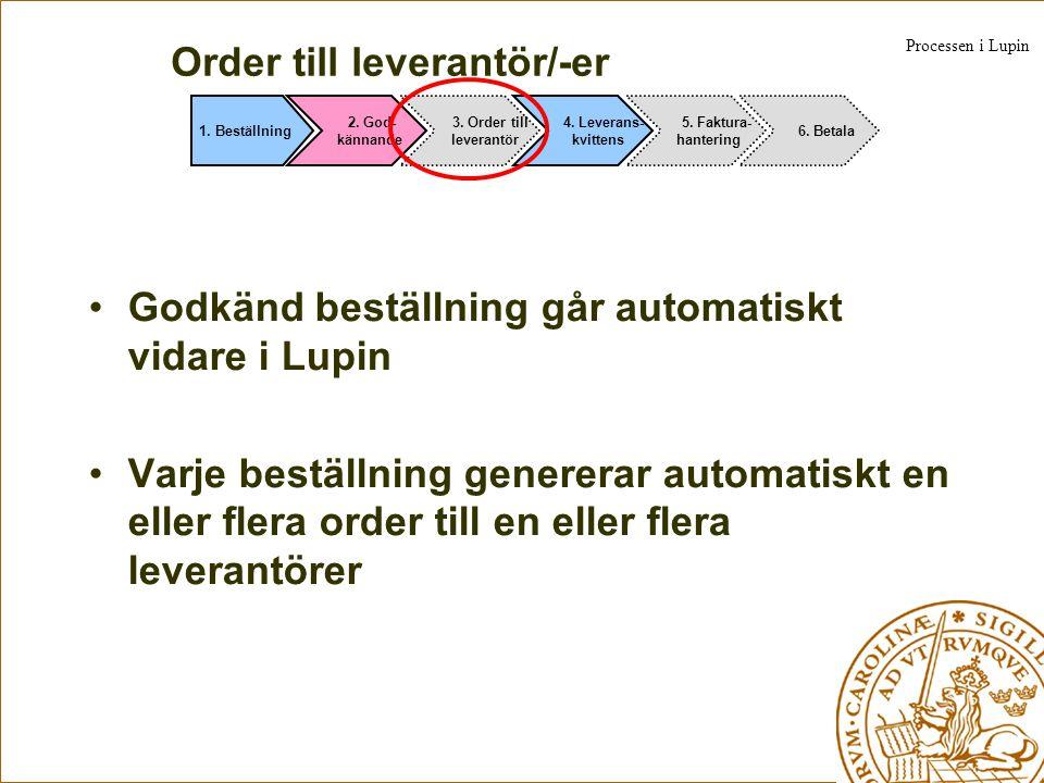 Order till leverantör/-er