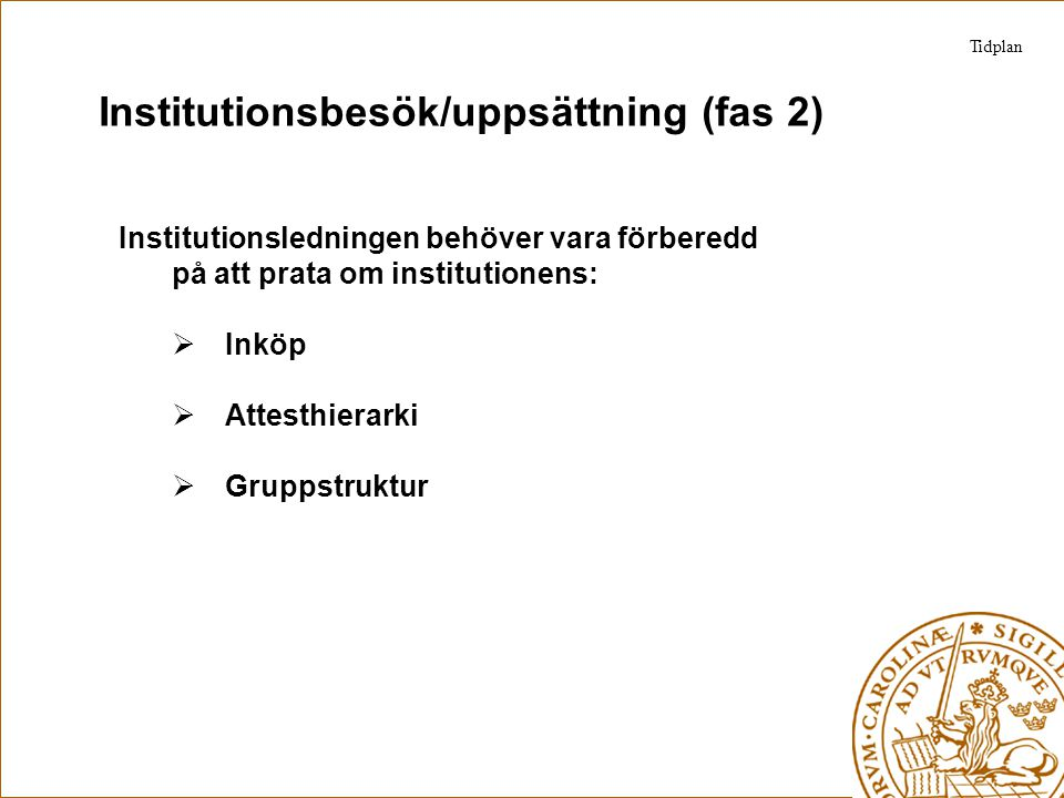 Institutionsbesök/uppsättning (fas 2)