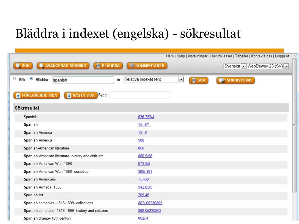 Bläddra i indexet (engelska) - sökresultat