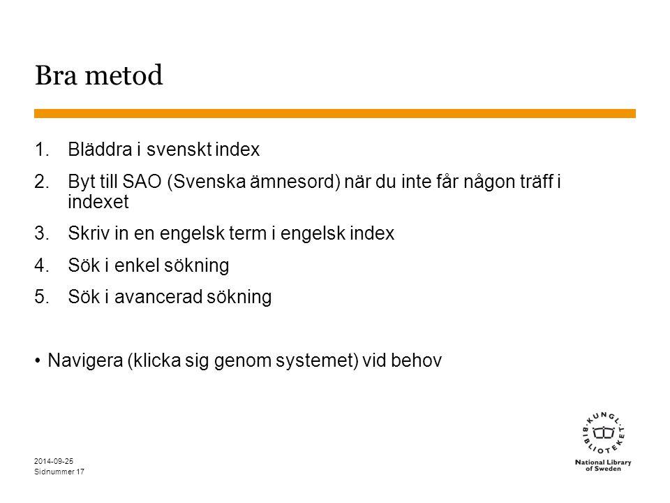 Bra metod Bläddra i svenskt index