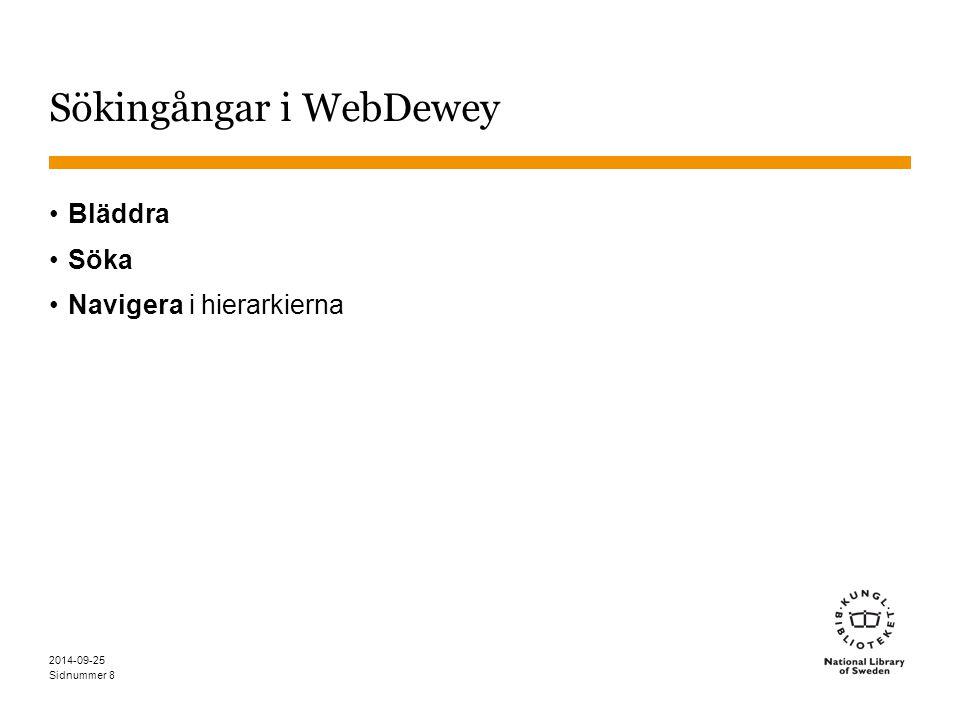 Sökingångar i WebDewey
