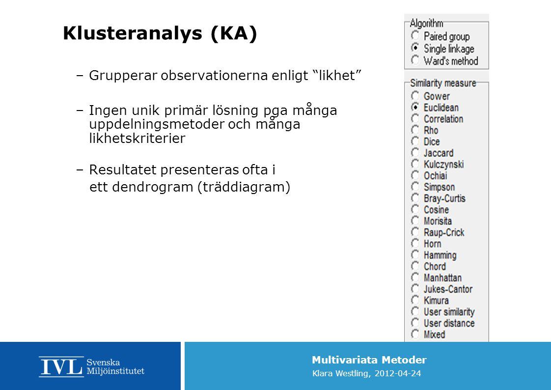 Klusteranalys (KA) Grupperar observationerna enligt likhet