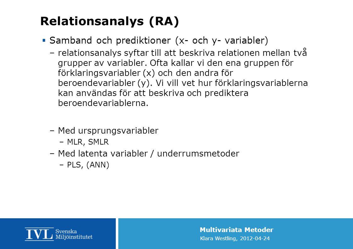 Relationsanalys (RA) Samband och prediktioner (x- och y- variabler)