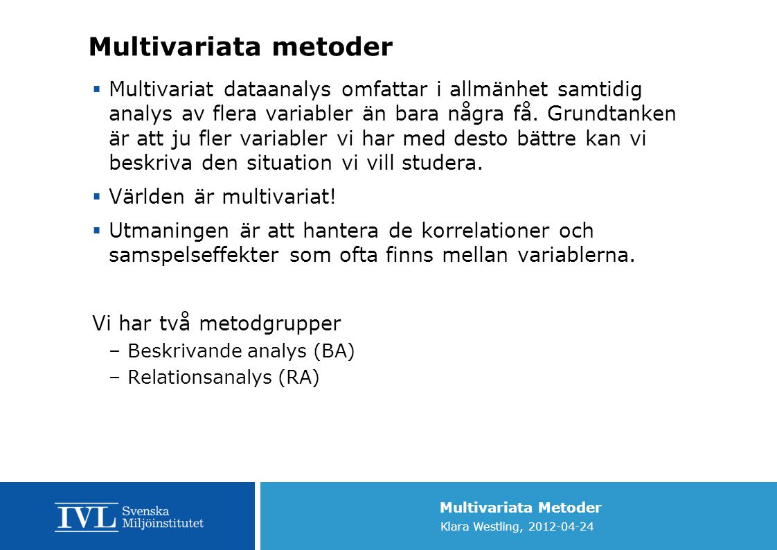 Multivariata metoder