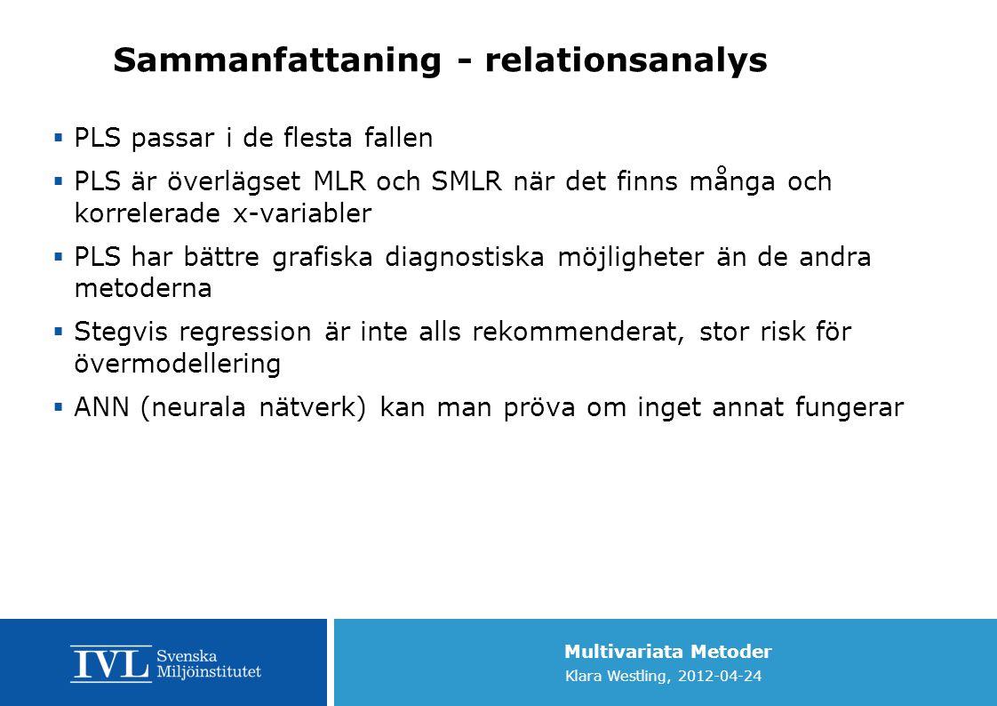Sammanfattaning - relationsanalys