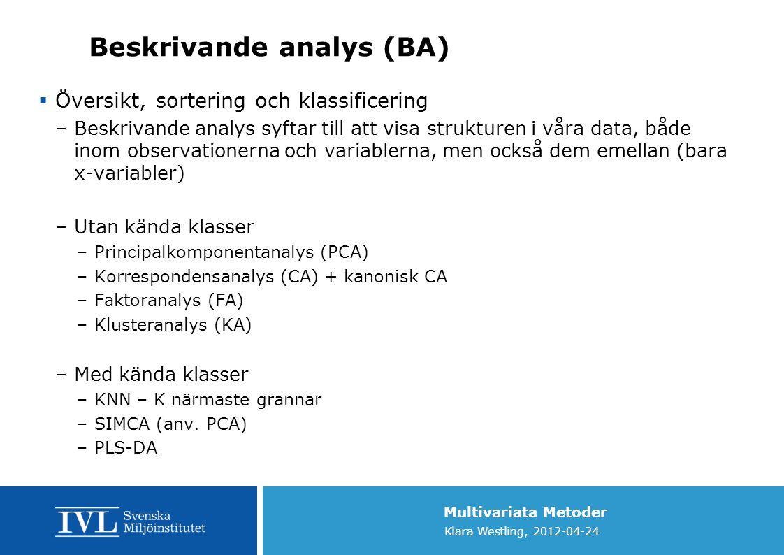 Beskrivande analys (BA)